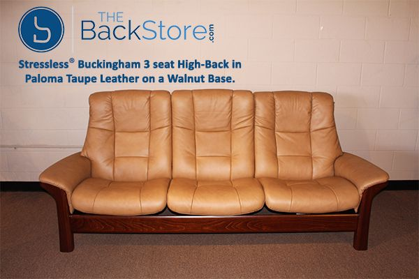Stressless Buckingham 3 seat High back in Paloma Taupe Leather on a Walnut  Base