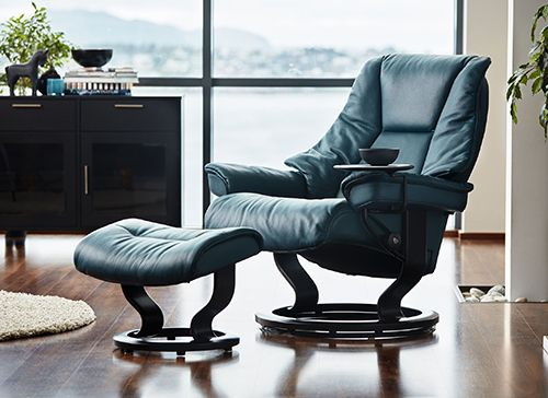 Stressless Live Recliner On A Clic Base In Cori Petrol Profile View
