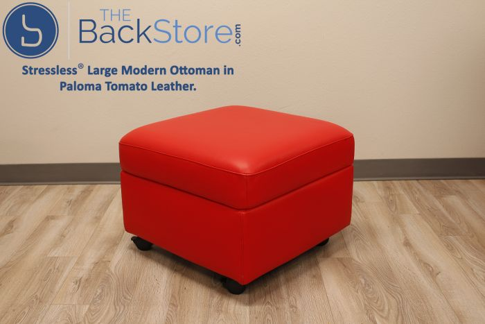 Incredible Stressless Large Modern Ottoman In Paloma Tomato Leather Andrewgaddart Wooden Chair Designs For Living Room Andrewgaddartcom