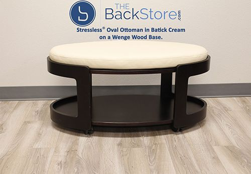 Stressless Oval Ottoman In Batick Cream On New Wenge Wood Base