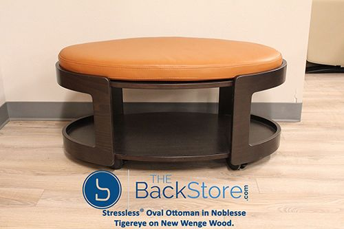 Stressless Oval Ottoman In Noblesse Tigereye On New Wenge Wood Base
