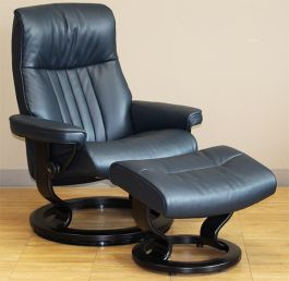 Stressless Crown Large Cori Blue Leather Recliner Chair